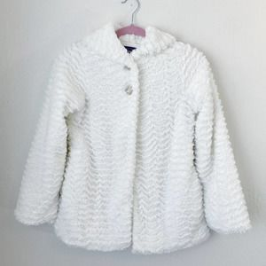 Patagonia White Button Up Fuzzy Hooded Jacket Sz L